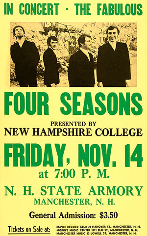 The Four Seasons - 1969 - New Hampshire College - Concert Poster