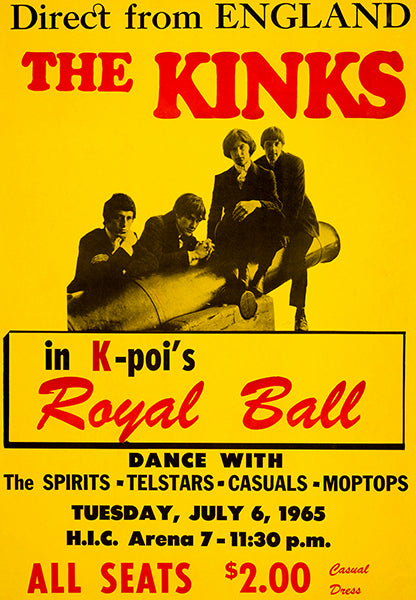 The Kinks - 1965 - Honolulu HI - Concert Poster