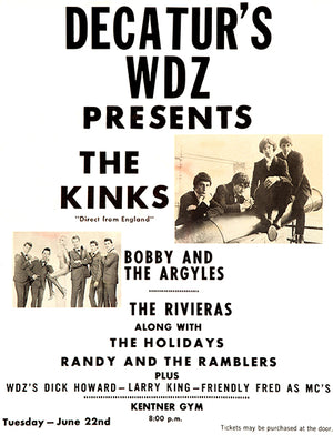 The Kinks - Decatur IL - 1965 - Concert Poster