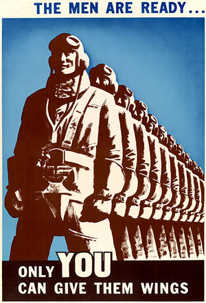 The Men Are Ready - Give Them Wings - 1940's - World War II - Propaganda Magnet