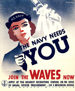 The Navy Needs You - Join The WAVES Now - 1940's - Propaganda Magnet