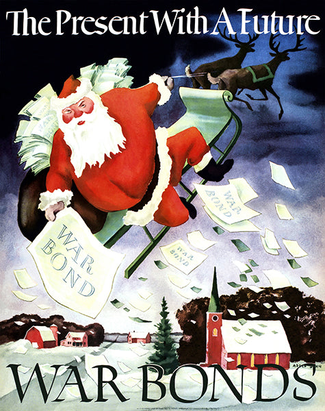 The Present With A Future - Santa War Bonds - 1942 - World War II - Propaganda Poster