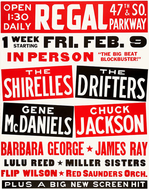 The Shirelles - The Drifters - 1962 - Concert Poster
