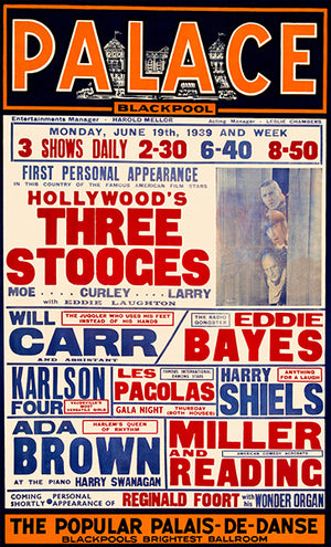 The Three Stooges - 1939 - Blackpool Palace - Promotional Advertising Poster