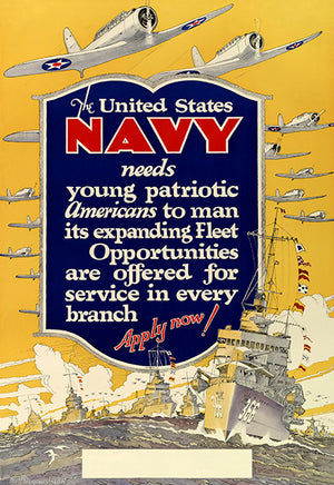 The United States Navy Needs Young - 1940 - World War II - Propaganda Poster