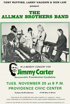 The Allman Brothers Band - Jimmy Carter Benefit - 1975 - Concert Poster