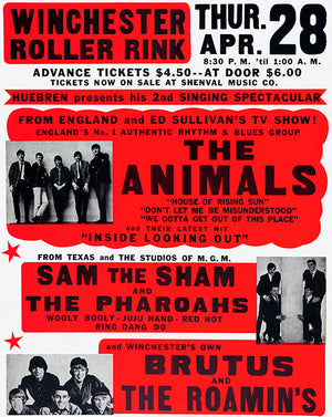 The Animals - Sam The Sham - 1966 - Winchester Roller Rink - Concert Poster
