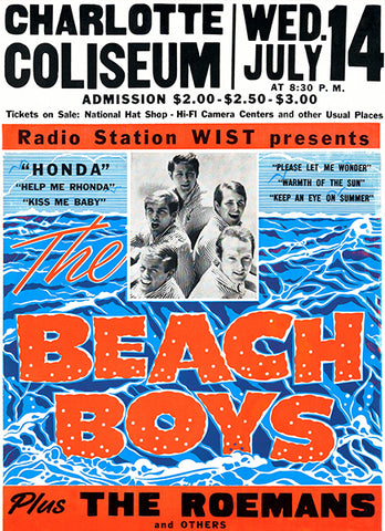 The Beach Boys - Charlotte Coliseum NC - 1965 - Concert Poster