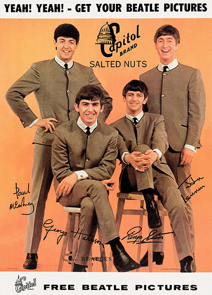 The Beatles - 1964 - Capitol Brand Salted Nuts - Promotional Magnet
