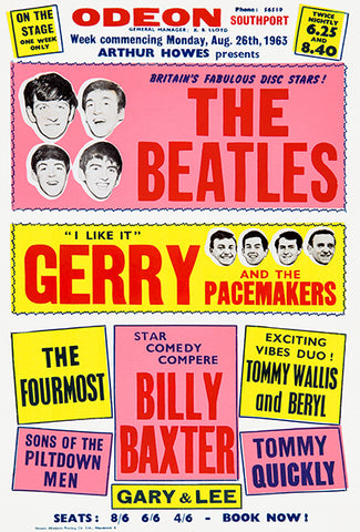 The Beatles - Gerry & The Pacemakers - Odeon Southport - 1963 - Concert Poster