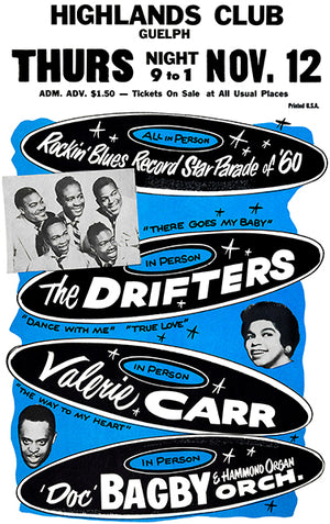 The Drifters - 1960 - Highlands Club - Concert Poster