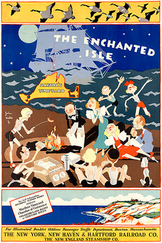 The Enchanted Isle - Martha's Vineyard - Steamship Co. - 1934 - Travel Poster