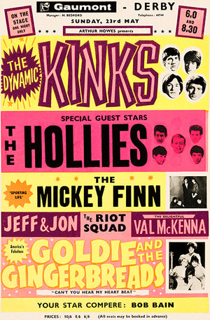 The Kinks - The Hollies - 1965 - Concert Poster