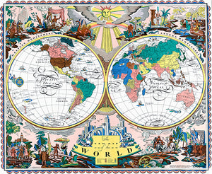 The New Map Of The World - Western Eastern Hemisphere - 1928 - Pictorial Map Poster