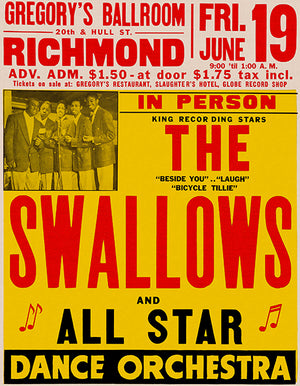 The Swallows - 1953 - Richmond VA - Concert Poster