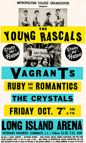 The Young Rascals - Vagrants - 1966 - Long Island Arena - Concert Poster
