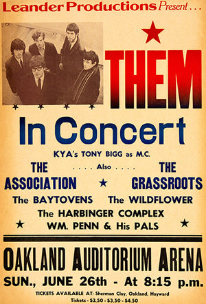Them - The Association - The Grassroots - 1966 - Concert Poster
