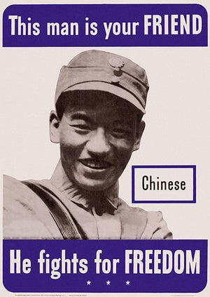 This Man Is Your Friend - He Fights For Freedom - Chinese - 1942 - World War II - Propaganda Mug