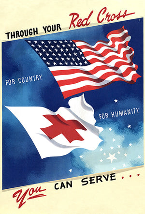Through Your Red Cross - You Can Serve - 1940's - World War II - Propaganda Magnet