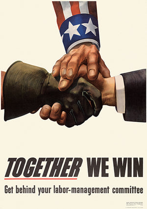 Together We Win - Labor-Management Committee - 1943 - World War II - Propaganda Mug
