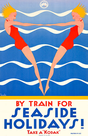 Train For Seaside Holidays! Kodak - Victorian Railway - 1930's - Travel Poster