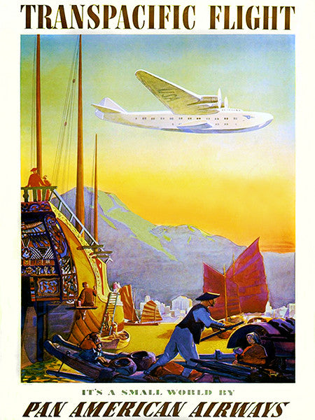 1936 Transpacific Flight - Pan American Airways - Travel Advertising Poster