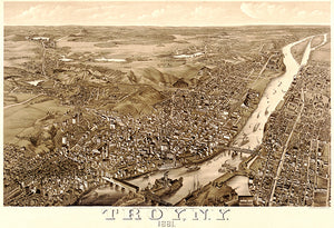 Troy, New York - 1881 - Aerial Bird's Eye View Map Poster