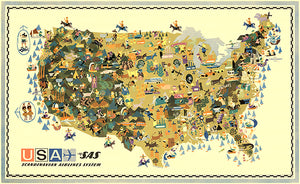 USA - Scandinavian Illustration - 1961 - Pictorial Map Poster