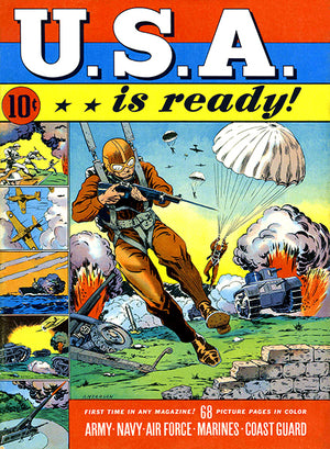 USA Is Ready - Army Navy Air Force Marines Coast Guard - 1941 - Comic Book Cover Magnet