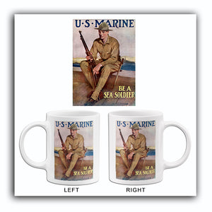 US Marine - Be A Sea Soldier - 1918 - World War II - Recruitment Mug