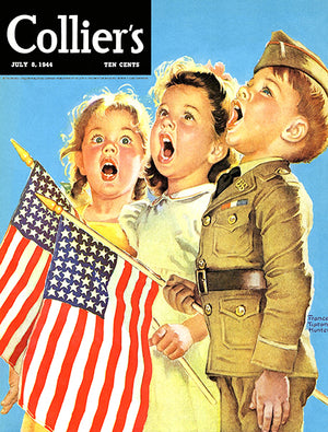 US Flag Independence Day - Collier's - July 1944 - Magazine Cover Poster