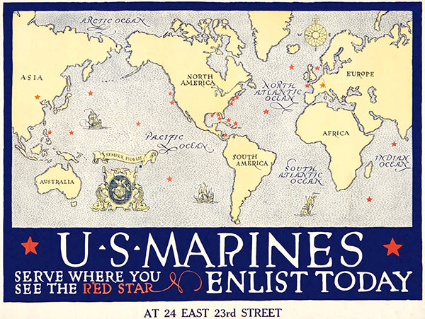 US Marine Corps - Serve Red Star - 1918 - World War I - Recruitment Poster