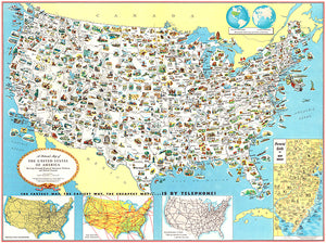 United States Of America - Resources & Products - 1953 - Pictorial Map Poster
