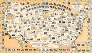 United States Stamps - The Post - 1949 - Pictorial Map Poster