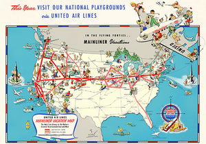 United Air Lines Mainliner Vacation - 1940's - USA Pictorial Travel Map Poster