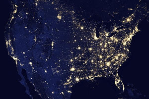 United States Of America At Night - NASA Photo Magnet