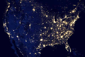 United States Of America At Night - NASA Photo Poster