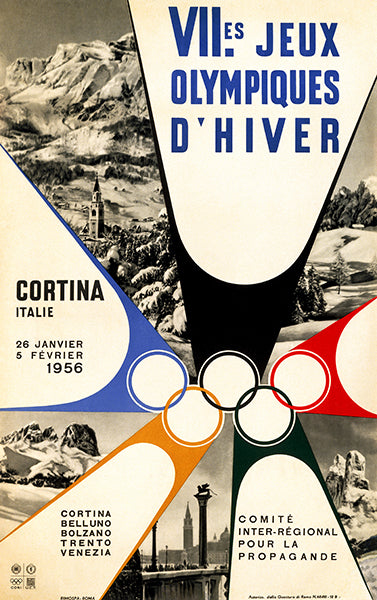 VII Olympic Winter Games - Cortina, Italy - 1956 - Advertising Poster