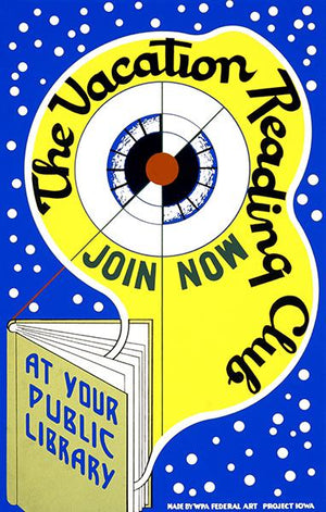 Vacation Reading Club - Public Library Books - 1939 - WPA Poster Magnet