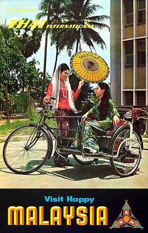 Visit Happy Malaysia - Thai International - 1964 - Travel Poster