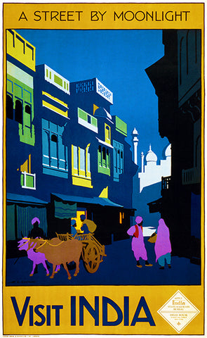 Visit India - A Street By Moonlight - 1920 - Travel Poster