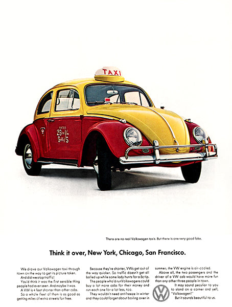 Volkswagen Taxi - 1964 - Promotional Advertising Poster