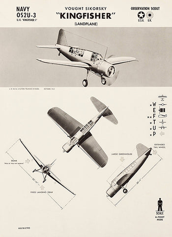 Vought Sikorsky Kingfisher - OS2U-3 - 1942 - World War 2 - Aircraft Recognition Poster