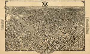 Washington, District of Columbia - 1922 - Aerial Bird's Eye View Map Poster