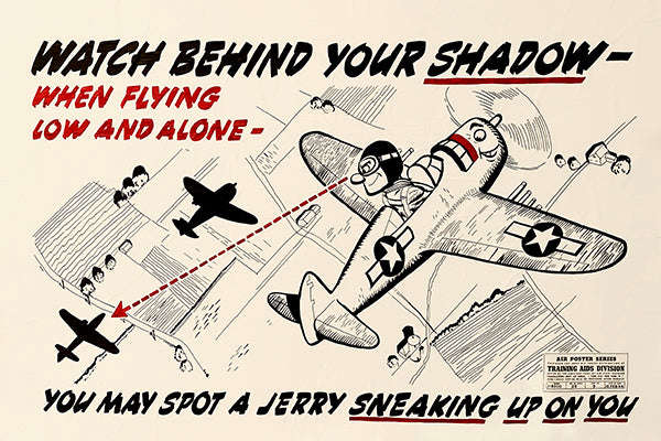 Watch Behind Your Shadow - 1944 - Training Aids Aviation Poster
