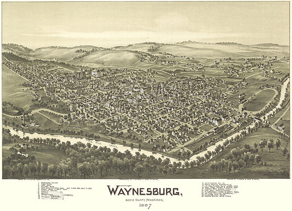 Waynesburg, Greene County, Pennsylvania - 1897 - Aerial Bird's Eye View Map Poster