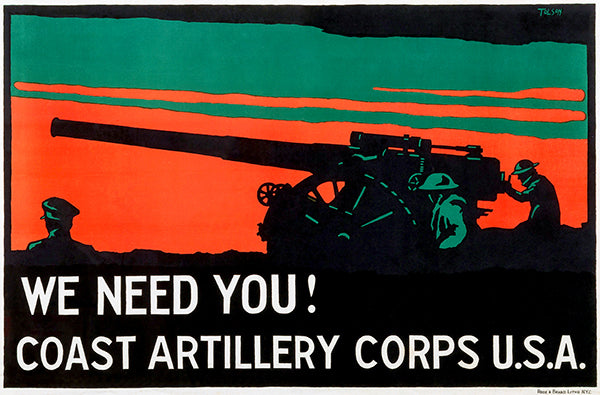 We Need You - Coast Artillery Corps USA - 1920's - Recruitment Poster