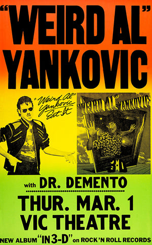 Weird Al Yankovic - Dr Demento - 1984 - Vic Theatre - Concert Poster