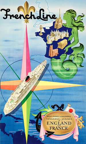 West Indies - England - France - French Line - 1956 - Travel Poster Magnet