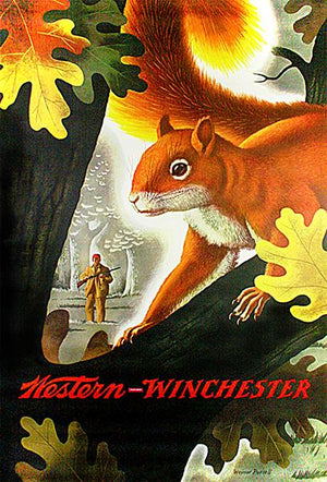 Western Winchester - Squirrel - 1955 - Promotional Advertising Magnet